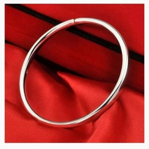 🆕925 Sterling Silver Smooth Cuff Bangle Bracelet